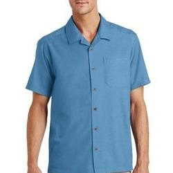 Mens Textured Camp Shirt